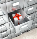 Archival storage locker. White box with a red bow Royalty Free Stock Photo