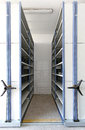 Archive room automated shelving system with mobile cabinet for documents Stock Photography