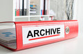 Archive wording on a binder the back of red Royalty Free Stock Photos