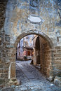 Archway in groznjan croatia the medieval mountain village Stock Image