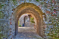 An archway in the Scaliger Castle of the charming village Malcesine Royalty Free Stock Photo