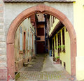 Archway of a town in alsace Stock Photos