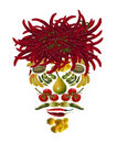 Arcimboldo's  style fruit and vegetable mask Stock Photo