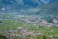 Arco di trento panorama of below alps mountains italy Stock Photography