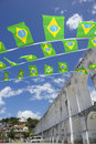 Arcos da lapa arches rio de janeiro brazilian flags brazil with celebratory flag bunting Royalty Free Stock Photos