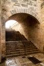 Arcos del túnel de la catedral de Majorca en Palma Fotos de archivo