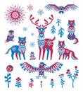 Arctic animals set in ethnic style