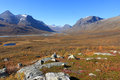 Arctic autumn colors in the mountains of national park sarek sweden Stock Images