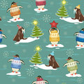 Arctic christmas seamless pattern with funny penguins in sweater on ice floes and walruses rest upon ice floes with tree Stock Photography