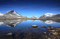 Arctic mountain lake reflections in an above the polar circle Stock Images