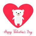 Arctic polar bear cub. Cute cartoon character. Happy Valentines Day. Love card with big red heart. Flat design. White background.