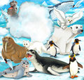 Arctic scenery - cartoon style with animals Stock Photography