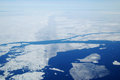 Arctic sea ice summer in he high showing from the air Royalty Free Stock Photos