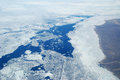 Arctic sea ice summer in the high showing from the air Royalty Free Stock Images