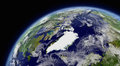 Arctic viewed from space with atmosphere and clouds elements of this image furnished by nasa Stock Images