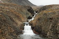 Arctic waterfall, Spitsbergen (Svalbard island) Stock Photo