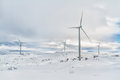 Arctic windmills winter mountain landscape windmill park Stock Images