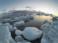 Arctic winter landscape glaciers sea mountains Stock Photography