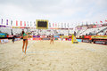 Area with yellow sand for tournament grand slam moscow june of beach volleyball on june in moscow russia Royalty Free Stock Image
