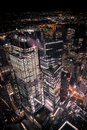 Areal view from One World Trade Center at night. Royalty Free Stock Photo