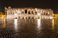 Arena verona amphitheatre in italy completed ad the third largest the world at dusk time roman Stock Image