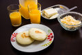 Arepas breakfest a classic breakfast in venezuela colombia canary islands etc Royalty Free Stock Photos