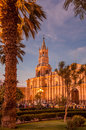 Arequipa evening in at plazza de armas Royalty Free Stock Photos