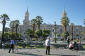 Arequipa square the main of in peru with the historic cathedral Royalty Free Stock Photo