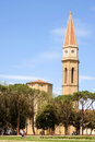 Arezzo italy may arezzo cathedral cattedrale di ss donato e pietro roman catholic cathedral gothic style rises place ancient Stock Photography