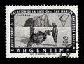 Polar explorers on a dog sled, Argentine Antarctic Royalty Free Stock Photo