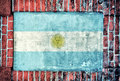 Argentina flag on the old bricks wall Stock Photos