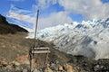 Argentina flag at perito moreno glacier patagonia argentina Royalty Free Stock Images