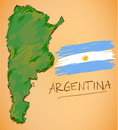 Argentina Map and National Flag Vector Royalty Free Stock Photo