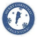 Argentina map. Vintage Merry Christmas Argentina. Royalty Free Stock Photo