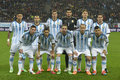 Argentina national football team the of pictured before the game against romania th march arena bucharest romania line up Stock Images