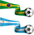 Argentina vs brazil flag with soccer ball Stock Photography