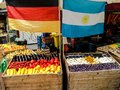 Argentina vs germany world cup themed fruit stand Royalty Free Stock Image