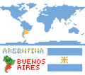 Argentina on world map, border shape flag and Royalty Free Stock Photo