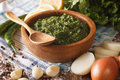 Argentine chimichurri spicy sauce and ingredients close-up. hori Royalty Free Stock Photo