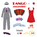 Argentine tango design elements Royalty Free Stock Photo