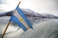 Argentinean Flag in Patagonia Royalty Free Stock Photo