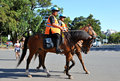 Argentinian police patrolling a park on horseback Stock Images