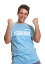Argentinian soccer fan is happy about a goal Royalty Free Stock Photo