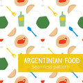 Argentinian typical food style seamless pattern with wine, glass of wine, empanadas, meat and mate in bright colors