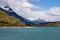 Argentino lake the in argentinian patagonia with its green waters and blue mountains with ice peaks Stock Photo