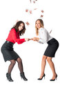 Argue of young attractive businesswomen for money two business ladies because paper over white background Royalty Free Stock Photography