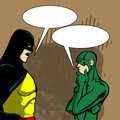 Arguing superheros comic book style illustrated with speech bubble Stock Photo