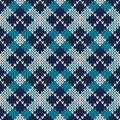 Argyle knitted pattern seamless vector background ornament on the wool texture eps available Royalty Free Stock Photography