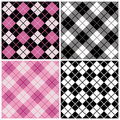 Argyle-plaid Patronen in Zwarte en Roze Royalty-vrije Stock Foto