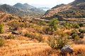 Arid landscape turkish land in mugla province turkey Royalty Free Stock Photos